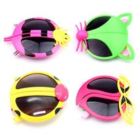 Wholesale Titanium Sunglasses Free Shipping - Fashion Kids Child Foldable Sports Sun Glasses Sunglasses Baby For Girls Boys Outdoor Designer Sunglasses 4 Styles Free Ship S1028