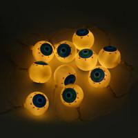 Wholesale Eyeball Halloween - Wholesale- 2M 20 LEDs Eyeball Halloween String Light AA Battery Lamp