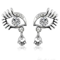 Wholesale Eyelashes Rhinestones - New Long Eyelashes Big Eyes With Rhinestone Stud Earrings Angel's Tears With Crystal Stud Earrings Ladies Fashion Earrings