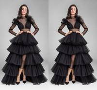 elbise boynu yeni kesikler toptan satış-Yeni Tasarım Siyah Illusion Uzun Kollu Abiye Fırfır Tül Yüksek Düşük Sheer Yüksek Boyun Bel Cut Balo Abiye Örgün Ünlü Elbise 2019