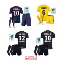 Wholesale Men S T Short - 17 18 NEYMAR JR MBAPPE PSG kits T SILVA CAVANI DI MARIA PASTORE Verratti 2017 2018 neymar jr wear sports DANI ALVES soccer jerseys