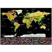 Wholesale World Map Sticker Decal - Creative World Poster Deluxe Erase Black Scratch Map Personalized Gifts For Home Bedroom Decor Wall Stickers 18kl C R