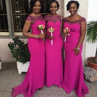 Wholesale Long Satin Silk Lace Dresses - Hot Pink New South African Mermaid Bridesmaid Dresses 2017 New Arrival Cap Sleeves Lace Appliques Maid of Honor Gowns Wedding Guest Dresses