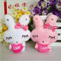 Wholesale Wedding Flower Girl Doll - Wholesale- Cute plush toy doll rabbit white pink girl soft mini PPcotton flower bouquet material phone charm letter LOVE for wedding T323