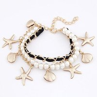 Wholesale Pearl Star Bracelet - Fashion Sea Star Shell Beads Created Pearl MultiLayer Charm Pulseras Leather Rope Bracelets & Bangles For Women Men Femme Bijoux