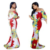 robes de sirène états-unis achat en gros de-L'Europe et les États-Unis Les femmes s'habillent 2017 robe occasionnelle Jupe d'épaule sirène Ruffle manches courtes Imprimer étage longueur robe