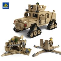 Wholesale Kazi Toys - KAZI 1463Pcs building blocks M1A2 ABRAMS Military Tank Toys 1:28 MBT And 1:18 HUMMER Scale Model toys for children