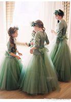 Wholesale Lolita Mint Dress - 2018 Luxury Flower Girls Dresses Lolita Pageant Party Birthday Prom Wedding Wear Dress Jewel Sheer Long Sleeve A-Line mint green Formal Gown