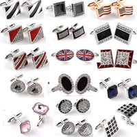 Wholesale Wholesale Enamel Signs - Diamond Crystal Cuff Links Cross Union Jack Royal Flush Dollars Sign Enamel crystal Cufflinks Cuff Links women men shirts suits Cufflink 638