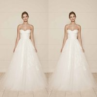 Wholesale Inexpensive Tulle Wedding Dresses - Gorgeous A Line Sweetheart Neckline Lace Tulle Appliques 2016 Wedding Dress Amazing High Quality Bridal Gowns Inexpensive Brides Wear