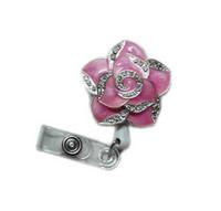 Wholesale Rhinestone Reel - Fashionable Retractable Badge Holder Cute Adorable Rose-red Bling Crystal Rhinestones Flower Reels ID Card Clip Holders