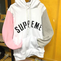 Wholesale Hooded Cardigan Sweater Sale - hot sale Sup black logo patch embroidery stitching multicolor men women sports hooded sweater high quality