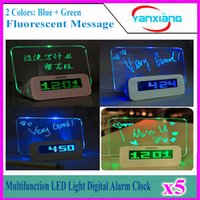 Wholesale Message Board Fluorescence - 5pcs Fluorescence message board clock colorful backlight calendar LED display free CPA YX-LYD-01