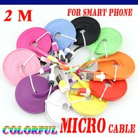 Wholesale Cable Noodle Iphone 2m - 100pcs Cell phone 1M 2M 3M Colorful Noodle Flat Cable V8 Micro USB Data Charger Cable For Samsung Xiaomi i6 i7 Micro USB Cable Free Shipping