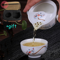 Wholesale Traditional Chinese Teapot - Wholesale-Upscale Gift Packing Elegant Tureen Include 1 Pot 1 Cup Chinese Traditional teapot kettle Kung Fu Tea Set Porcelain Cup Quik Cup
