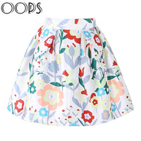 Wholesale Pleated Skater Mini Skirt - Wholesale-OOPS 2016 New Design Women Mini Skirts Floral Printed A-line Pleated Ball Gown Summer Skater Skirt For Women A1602007