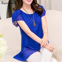 Wholesale China Chiffon Blouse - Wholesale-Soperwillton 2016 New Summer Women Chiffon Blouse Plus Size Blusas Shirts Female Blouse Short Sleeve Cheap China Clothes #C378