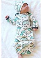 Wholesale Boys Clothing Set Pcs - Newborn Baby Dinosaur Sleeping Bags 2 PC Set Euro America INS Infant Boys Thin Cotton Cartoon Long Sleeves Swaddling Clothes with Hat