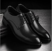 Wholesale Working Fashion - Men Breathable Height Increasing casual shoes New 2016 Genuine Leather Shoes Men Oxford Fashion Lace Up Dress Shoe Outdoor Work Shoe