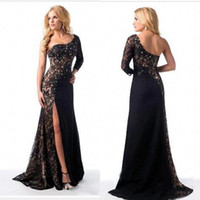 Wholesale Shiny Silver One Sleeve Dress - 2016 Sexy Dresses Evening Wear One Shoulder Long Sleeve Sheath Split Skirt Shiny Beaded Black Lace and Chiffon Formal Evening Gowns