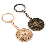 Wholesale Gift Souvenir Keychain - Movie Jewelry Pirates of the Caribbean gold or Silver coin logo Alloy Keychain men Gift High Quality hot sale Souvenirs zj-0903686
