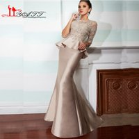 Wholesale White Fully Beaded Sheath Gown - Sexy Mermaid Formal Evening Dresses 2016 illusion Jewel Neck Fully Lace Beads Half Sleeve Long Evening Party Gowns