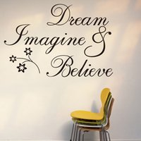 "Wholesale Imagine Art - New Design ""Dream & Imagine & Believe"" PVC Removable Wall Sticker Decorfor bedroom living rooms 60*36 cm"