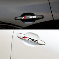Wholesale Toyota Trd Stickers 3d - 4pcs set New Car Door Handle Decal Reflective Sticker TRD Car Doorknob Sticker Auto Knob Grip Body Decoration for TOYOTA