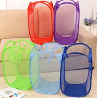 Wholesale Wholesale Pop Up Laundry Hamper - Foldable Mesh Laundry Basket Clothes Storage supplies Pop Up Washing Clothes Laundry Basket Bin Hamper Mesh Storage Bag KKA2306