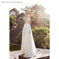 Wholesale Inside Dress - 2017 Halter Beach Short Inside Long Out Skirt Slit Sexy Split Wedding Dresses Slit Leg Factory Custom Made Real Photo