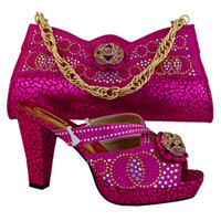 Wholesale Spring Color Wedge Heels - Hot sale multi color rhinestone and bowtie decoration african shoes match handbag set ladies pumps MM1007 fuchsia,heel 11.5CM