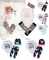 Wholesale Cute Christmas Baby Girl Clothes - 18 style NEW Baby Baby Girls Christmas Outfit Kids Boy Girls 3 Pieces set T shirt + Pant + Hat Baby kids Clothing sets