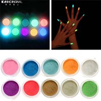 Al por mayor-10Colores de neón de acrílico Nail Art Fluorescente Luminiscente Brillo Punta de polvo de arena brillan en la oscuridad 3D Salon Nails DIY decoración de diseño