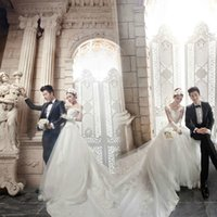 Wholesale Korean Pregnant Style - Korean style Formal wedding dress v-collar A word shoulder Tailing Lace Pregnant women Wedding dress