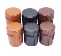 Wholesale Camera Case Pouch - New PU Leather Hard Camera Lens Pouch Bag Case For Nikon For Canon Protective Case High Quality three colors