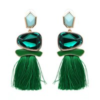 Wholesale Jade Earring Stones - 10 Color Trendy Brand Red Tassel Fringe Drop Earrings With Crystal Stone Statement Charm Tassel Earrings For Women Jewelry