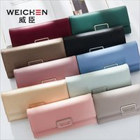 Wholesale Korean Selling Model - Free Shipping 2017 New Long Wallet Purse Korean fashion female selling hot Credit Card Simple hasp design Rectangle Practical Male models
