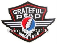 Wholesale Heavy Sewing - GRATEFUL DEAD Skull Shield Music Band Heavy Metal Iron On Sew On Patch Tshirt TRANSFER MOTIF APPLIQUE Rock Punk Badge Party Favor