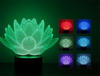 Wholesale Strange Usb - 7 Color Changing Touch Lotus 3D Night Light Strange Stereoscopic LED Light For Lotus Flower Acrylic LED Night Light USB