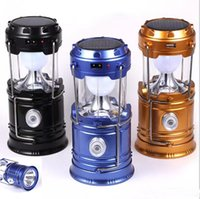 Wholesale Ul Portable Lamp - New Style Portable Outdoor LED Camping Lantern Solar Collapsible Light Outdoor Camping Hiking Super Bright Light Solar Lamps
