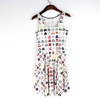 Wholesale Sexy Free Women Men - NEW 1117 Sexy Girl Women Summer Classical Game multicolur PAC-MAN 3D Prints Reversible Sleeveless Skater Pleated Dress Plus size