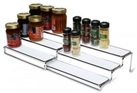 Spice spice cabinet organizer - 3 Tier Expandable Cabinet Spice Rack Step Shelf Organizer