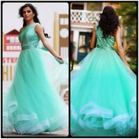 Wholesale One Shoulder Aqua Ruffle Dress - Said Mhamad One Shoulder Aqua Prom Dresses Beaded A Line Formal Evening Dress Party Gowns 2017
