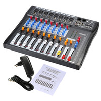 Wholesale Dj Powered Mixer Console - Freeshipping USB 8 Channel Digtal Mic Line Audio Mixing Mixer Console w  48V Phantom Power for Recording DJ Stage Karaoke Music