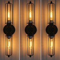 Wholesale Vintage Industrial Lamps - RH loft DIY rustic Edison Wall Lamp vintage lamp Industrial Sconce Steampunk Lighting Dimmable Lamp Double elongated Mirror Lighting