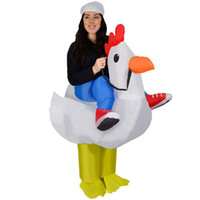 Wholesale Chicken Outfits Adults - Purim Halloween Airblown Inflatable Chicken Costume Adult Rooster Cock Fancy Dress Cosplay Hen Stag Night Outfit