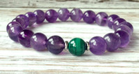 Wholesale Amethyst Grading - SN1063 A Grade Amethyst AA Malachite Bracelet Healing Crystals Spiritual Gift Trendy Buddhist Mala Beads Protection Bracelet