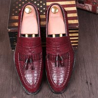 Wholesale Italian Business Shoes For Men - Italian Fashion Crocodile Texture Leather Dress Shoes Mens Slip-on Oxfords Tassel Shoes Pointed Toe Business Shoes For Tide Boys & Noble Man