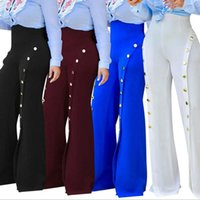 Wholesale High Waist Bootcut Legging - 2017 Women Casual Fashion Palazzo Loose High Waist Wide Leg OL Career Long Pants Button Trousers