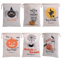 Wholesale Spider Stock - 2016 hot sale 6 style Halloween Large Canvas bags cotton Drawstring Bag With Pumpkin devil spider Hallowmas Gifts Sack Bags 36*48cm